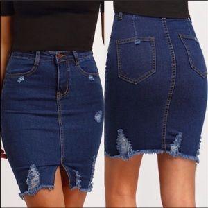 Medium Distressed Denim Skirt